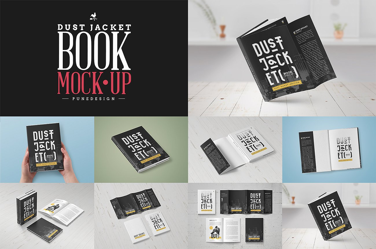 MOCKUP BOOK COVER DUST JACKET