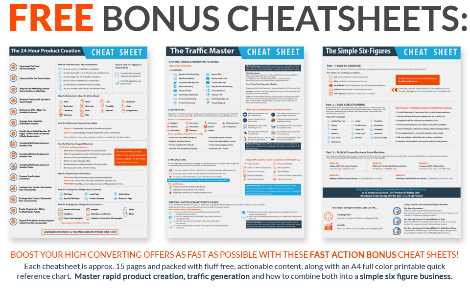 FREE Bonus Cheat Sheets Included